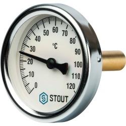 "Термометр STOUT биметалический корпус Dn 63 мм. гильза 50 мм 1/2""  (SIM-0001-635015)"